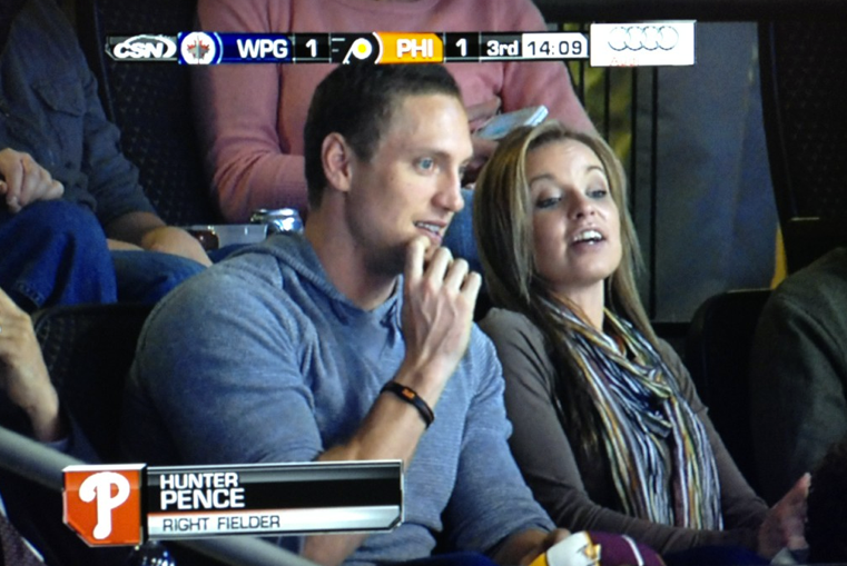 Hunter Pence At Flyers Game Crossing Broad