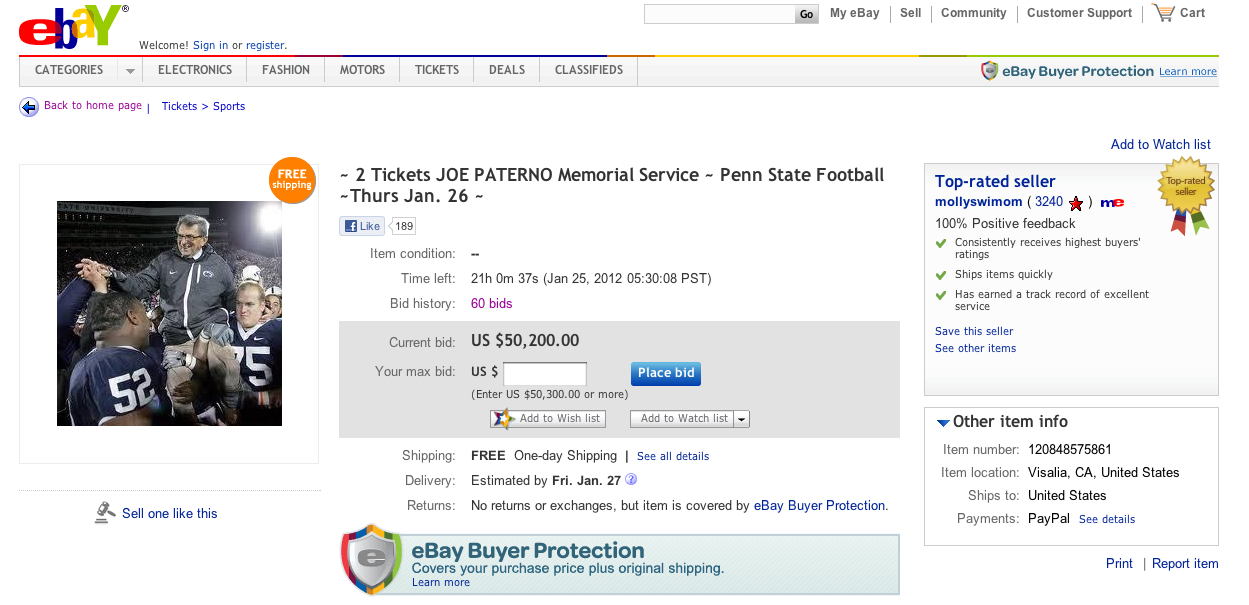 Joe Paterno Memorial Ticket Bid Up To 65 000 On Ebay For Now Crossing Broad
